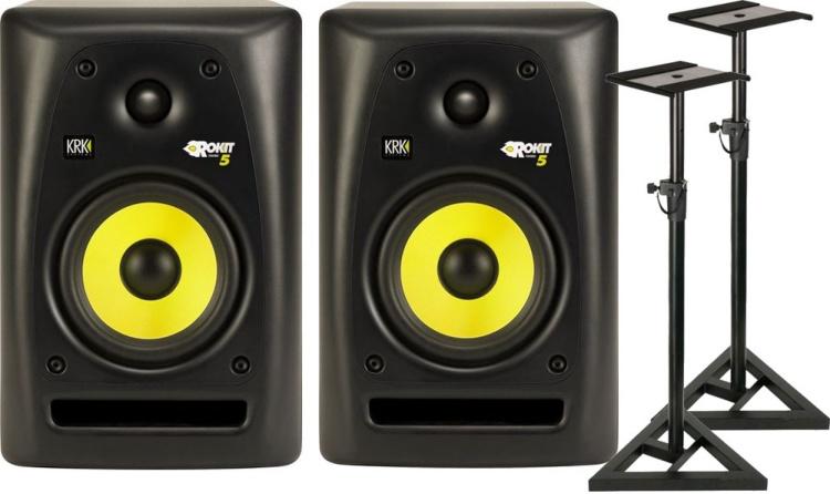 krk rp5 g2 rp 5 studio boxen lautsprecher monitore boxen st nder stative paar ebay. Black Bedroom Furniture Sets. Home Design Ideas