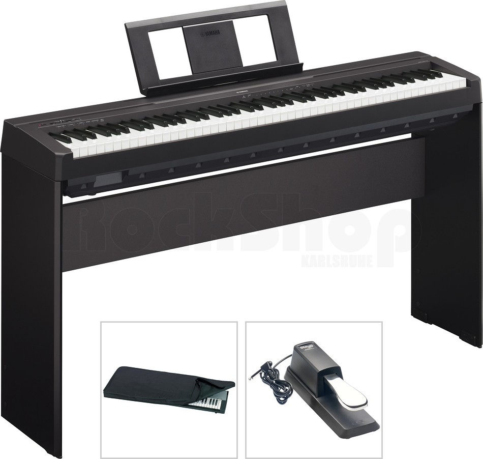 yamaha p45 b digital e piano mit l85 holzgestell staubschutz h lle pedal neu ebay. Black Bedroom Furniture Sets. Home Design Ideas