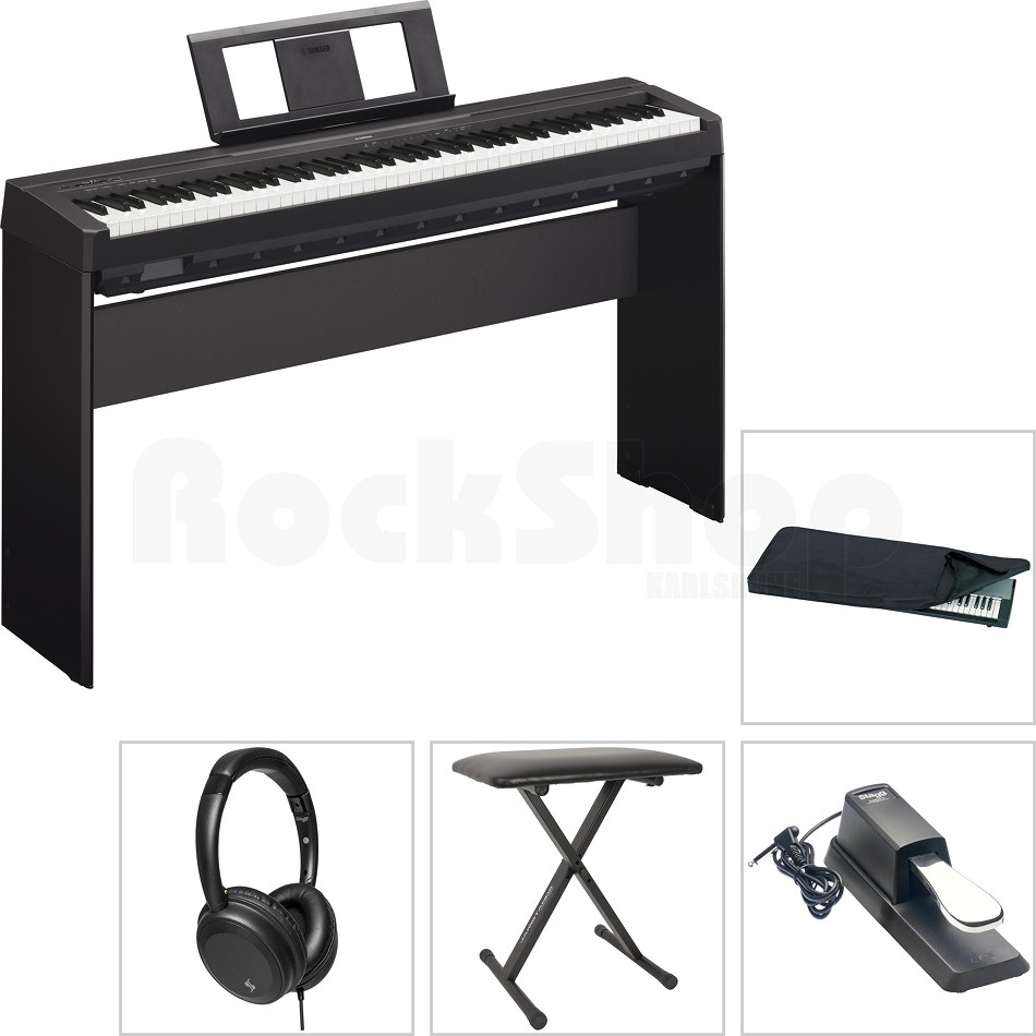 yamaha p45 b digital e piano klavier mega set mit l85 holzgestell kopfh rer ebay. Black Bedroom Furniture Sets. Home Design Ideas