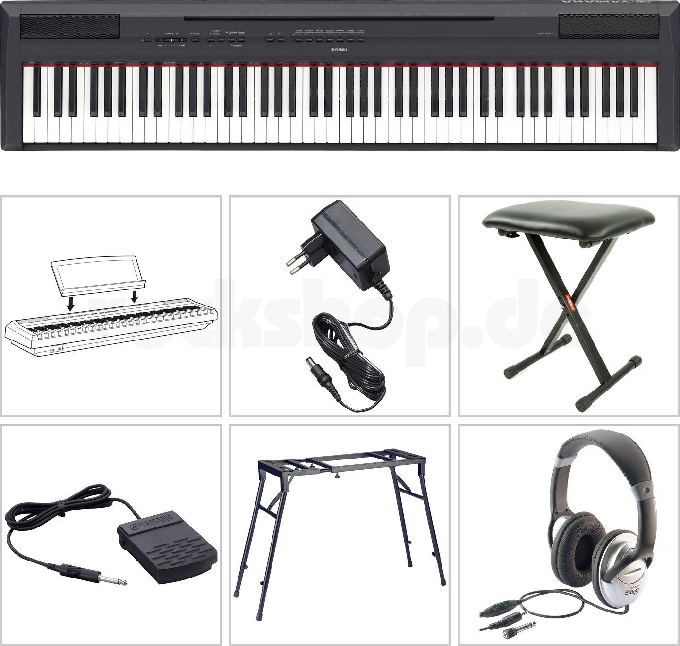 yamaha p 115 b digital e piano klavier mit stativ tisch. Black Bedroom Furniture Sets. Home Design Ideas