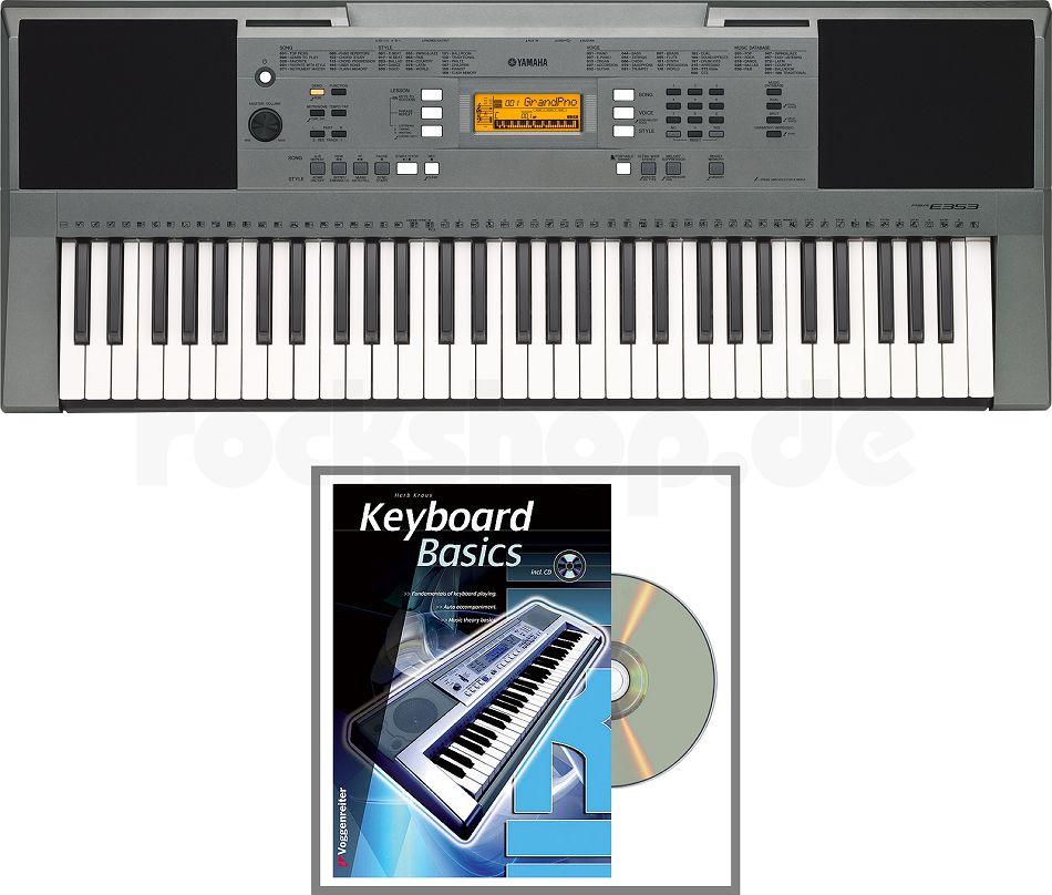 yamaha psr e353 keyboard f r anf nger set mit buch cd. Black Bedroom Furniture Sets. Home Design Ideas