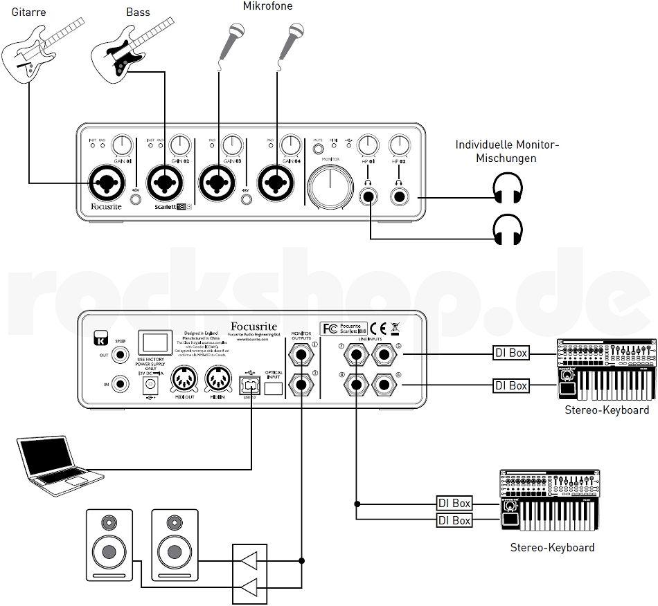 focusrite scarlett 18i8 usb audio interface soundkarte mit