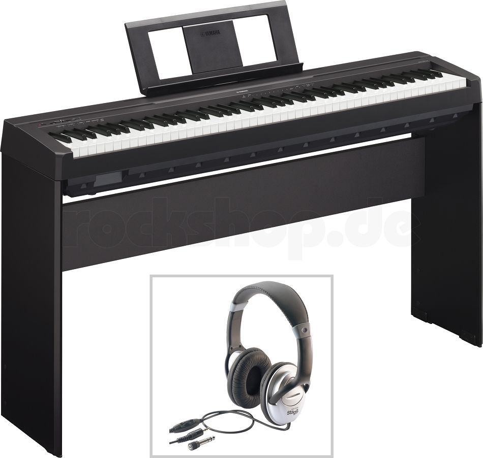 yamaha p45 b digital e piano klavier mit l 85 holzgestell kopfh rer zubeh r ebay. Black Bedroom Furniture Sets. Home Design Ideas
