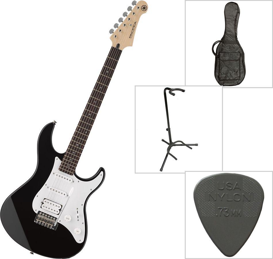 Stativ Ständer Plektrum Yamaha Pacifica 012 Black E-Gitarre schwarz mit Gurt