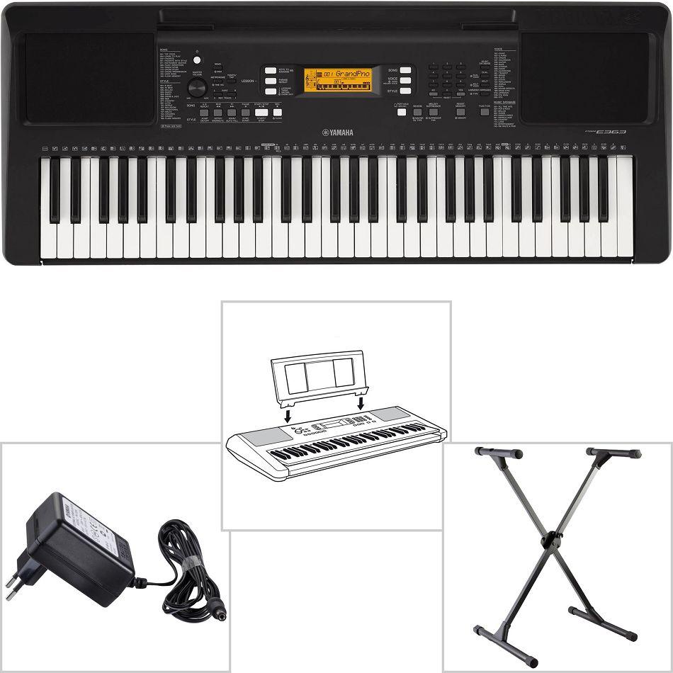 Netzteil Yamaha PSR E363 Keyboard für Anfänger mit Trage Tasche Notenablage