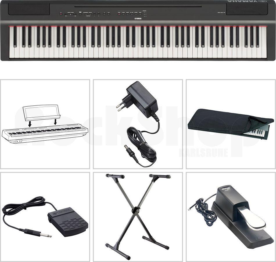 Yamaha P 125 B Digital E-Piano Klavier SET mit X-Stativ Staub Schutz Hülle